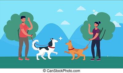 parc, chiens marche, couple