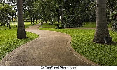 parc concret, manière, promenade