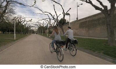parc, couple, aller, cyclisme