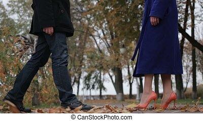 parc, couple, amour, automnal, embrasser
