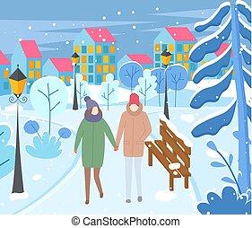 parc, couple, ville, hiver, soir, marche