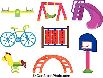 parc, cour de récréation, collection, enfants