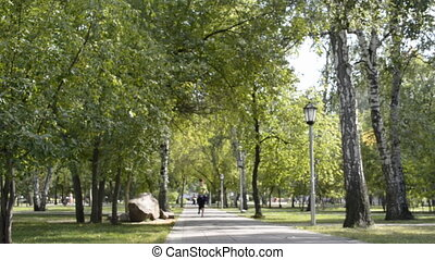 parc, courant, femme, sport