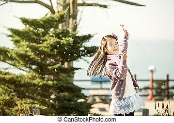 parc, enfants, danse