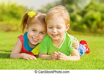 parc, enfants, heureux