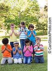 parc, enfants, leur, prières, proverbe