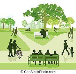 parc, familien, im