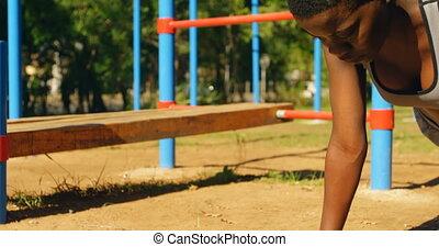 parc, femme, athlète, planche, 4k