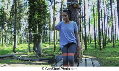 parc, femme, corde, obstacles