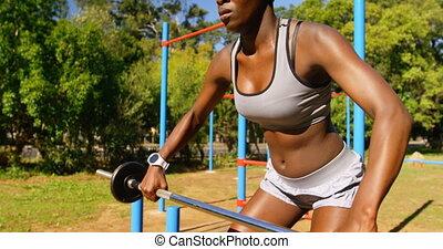 parc, femme, exercisme, poids, athlète, 4k, barre disques