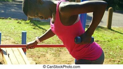 parc, femme, haltère, exercisme, athlète, 4k