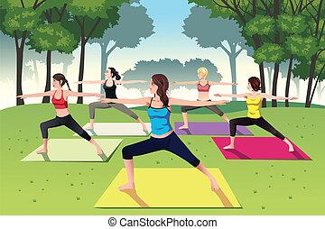 parc, femmes, yoga, groupe