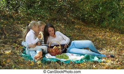 parc, filles, mère