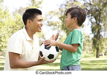 parc, football, père, fils