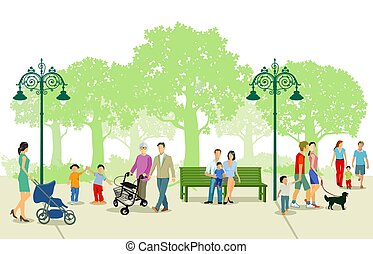 parc, gens, ville, loisir