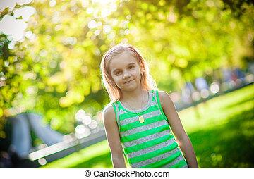 parc, girl, être âgé de, 6
