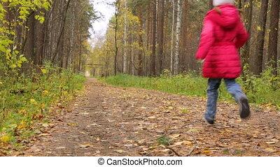 parc, girl, peu, courant, automne