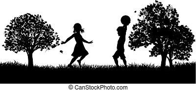 parc, gosses, silhouette, jouer