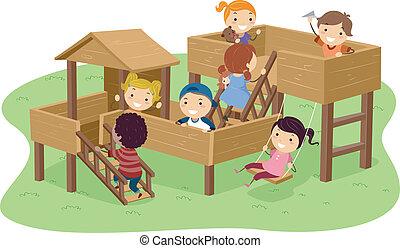 parc, gosses, stickman, jouer