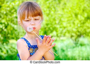 parc, heureux, enfant, pissenlit, nature, souffler