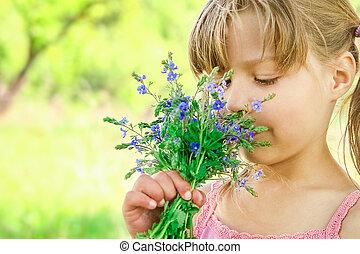 parc, heureux, girl, nature, fleurs