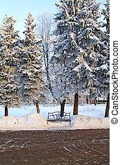 parc, hiver, banc