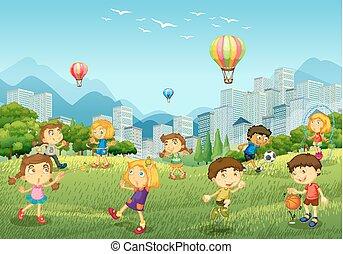 parc jeu, enfants, heureux