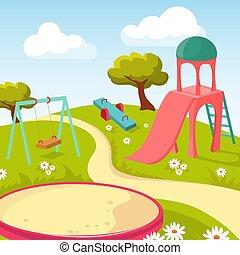 parc jeu, récréation, illustration, équipement, vecteur, enfants