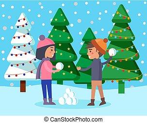 parc, jouer, hiver, boule de neige, vecteur, gosses, baston