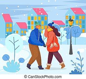 parc, mains, couple, hiver, ville, tenue, romantique