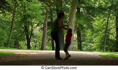 parc, maman, jouer, fils