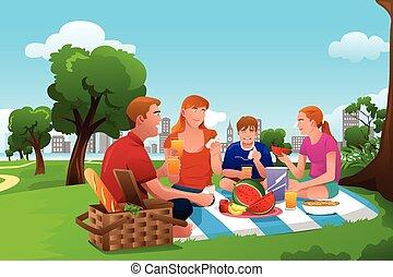 parc, pique-nique, avoir, famille