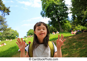 parc, portrait, petite fille