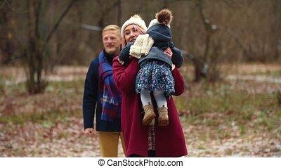 parc, promenades, hiver, famille