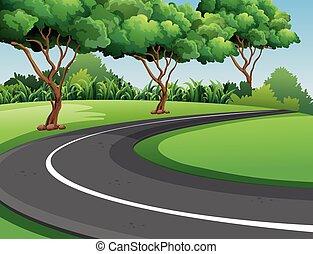 parc, scène, route