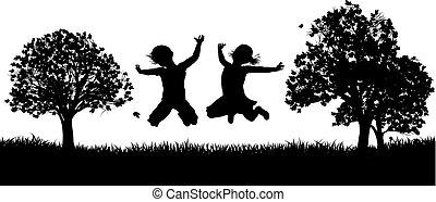 parc, silhouette, enfants, heureux