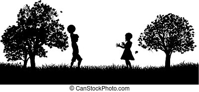 parc, silhouette, jouer, enfants