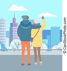parc, stand, paysage, hiver, couple, regard