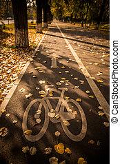 parc, symbole, couloir bicyclette