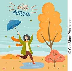 parc, vecteur, carte postale, temps, automne, pleuvoir