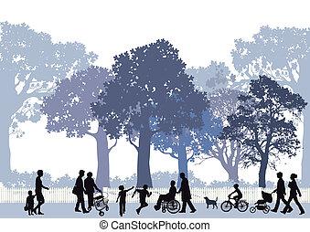 parc ville, enfants, gens