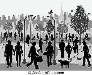 parc ville, gens jours