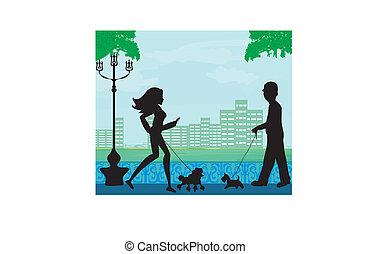 parc ville, promenade chien
