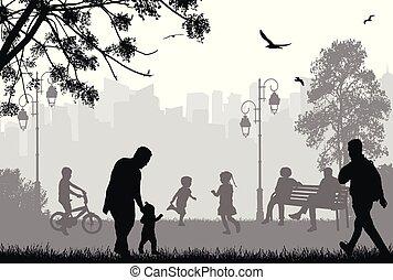parc ville, silhouettes, gens