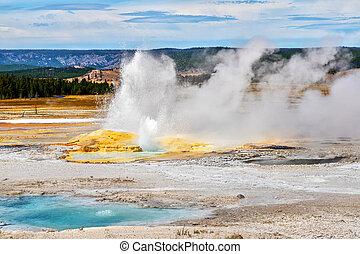 parc, yellowstone, clepsydra, national, geyser