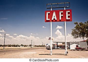 parcours, signe, historique, 66, texas., long, café