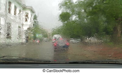 pare-brise, gouttes pluie