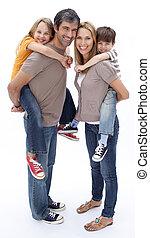 parents, enfants, cavalcade, donner, ferroutage