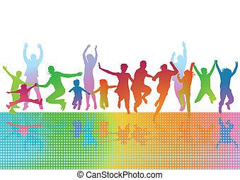 parents, enfants, heureux
