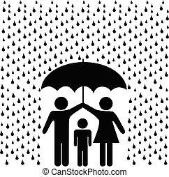 parents, protéger, parapluie, pluie, enfant